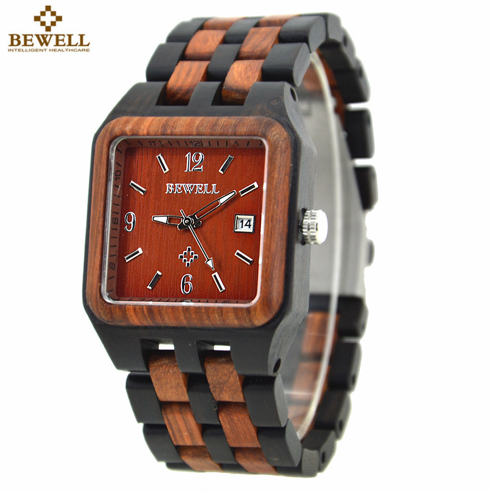 BEWELL Mens Fashion Wood Watch Rectangle For Sale Men Branded Wooden Watch Men Auto Date Wristwatch Relogio Masculino 111A bewell fashion luxury brand wooden watch for man round dial date display wristwatch and luminous pointers wood watch zs 109a