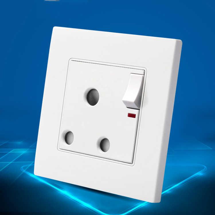 Nowy ścienne gniazdo zasilające, biały panel, ON/OFF AC110 ~ 250 V, 15A wylot wielkiej brytanii standardowy 86mm * 90mm