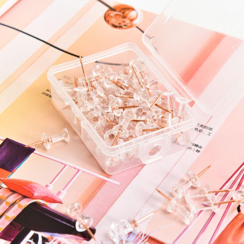 100pcs Transparent Rose Gold Push Pins Thumb Thumbtack Board Pins Drawing Photo Wall Studs Office School Supplies