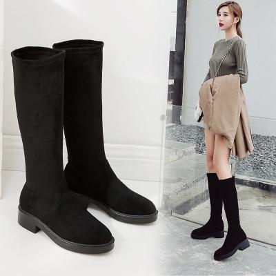 2018 De Bottes Confortable Noir army Nouvelle Haute Bottines Velours Chaussures Plus Extensibles Sauvage Femmes Femme Décontracté Neige D'hiver Green Tube Pour IY6gbyvf7