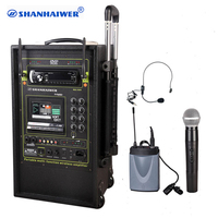 Large power capacity 2 channel audio input 1 video output wireless acoustic Pull rod type sound box remote DVD microphone system