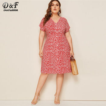 Dotfashion Plus Size V Neck Button Up A Line Dress Women 2019 Summer Short Sleeve Midi Dresses Ladies Floral Print Dress