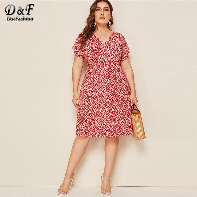 Dotfashion Plus Size V Neck Button Up A Line Dress Women 2019 Summer Short Sleeve Midi Dresses Ladies Floral Print Dress