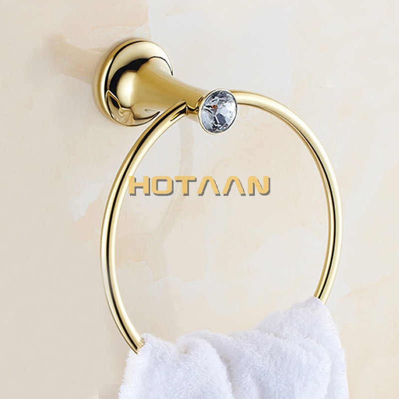 Handtuch Ring Goldene Bad handtuch halter, edelstahl Wand-Montiert Runde Handtuch Ringe Kristall Handtuch Rack Bad Zubehör