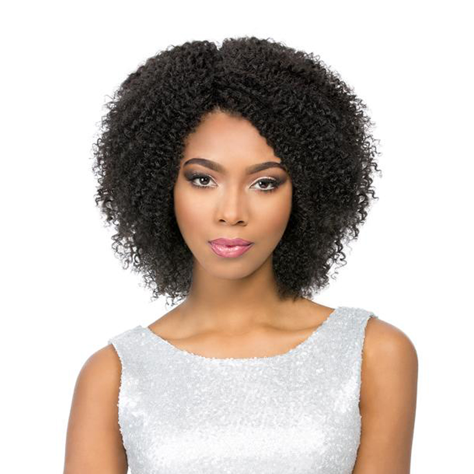 X-Elements Kinky Curly Human Hair Wigs For Women 130% Density Brazilian Short Remy Hair Wig 100% Human Hair Natural Black