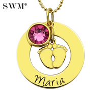 Women Baby Feet Necklace Necklaces Custom Name Birthstone Pendant Colar Customized Engraving Chain Jewelry for New Mom in Gold