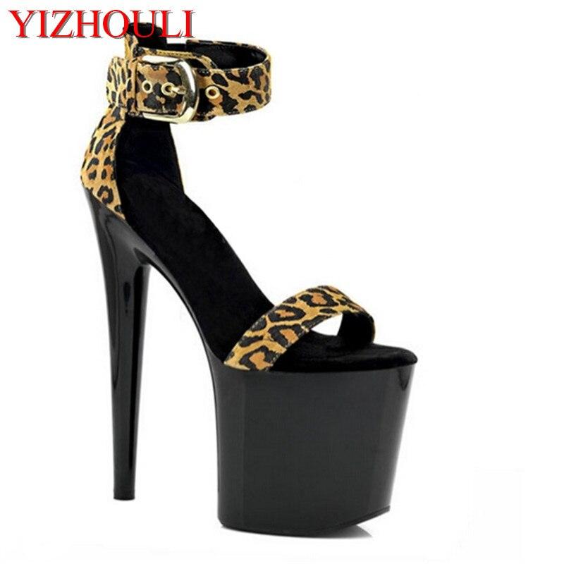Sandales à talons fins 8 pouces mode imprimé léopard velours Sexy chaussures à talons 20 cm talons hauts sandales à plate-forme