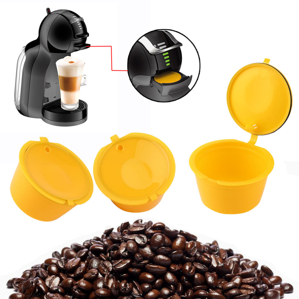 3Pcs Eco-friendly Brown Reusable Coffee Capsule Plastic Refillable Compatible Coffee Filter Baskets Soft Capsules Taste Sweet coffee filter