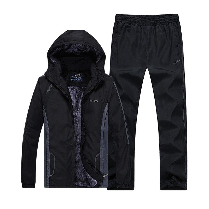 2018 Nuovo Arriva Il Modo Di Inverno Set Per Running Più Velluto Degli Uomini Vestiti Di Sport Set Di Abbigliamento Sportivo Di Fitness Abbigliamento Caldo Outdwear Vestito Gamma Completa Di Articoli