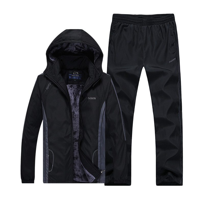 New Arrive Fashion Winter Running Sets Plus Velvet Men Sport Suits Sportswear Set Fitness Warm Clothing Outdwear Tracksuit