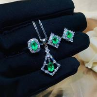 charming green emerald gem ring earrings necklace jewelry set natural real gem 925 sterling silver beautiful green color gift