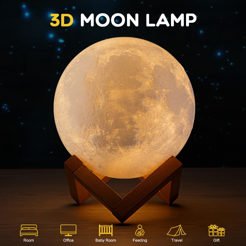 18 cm 3D Print USB Moon Lamp Rechargeable 16/2/3 Color Change Touch Night Light Lunar Luna Baby Nightlight Christmas Home Decor jiaderui usb rechargeable battery neon lamp new year christmas wedding decor lamp flamingo cactus moon cloud led home nightlight