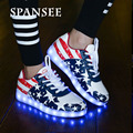 Size 30-45 Fashion LED Light Up Sneakers Shoes Glowing Sneakers Luminous Children Kids Casual Shoes Basket Femme LED Slippers