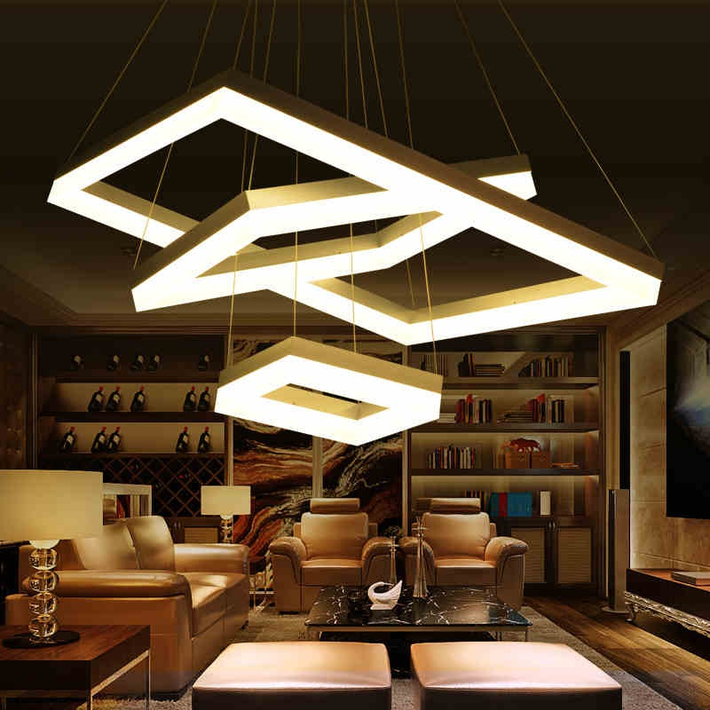 Modern Acrylic LED Pendant Restaurant Living Room Bedroom Study Room Rectangle Acrylic Dimmable Chandelier Lighting AC110 240V|Pendant Lights|   - title=