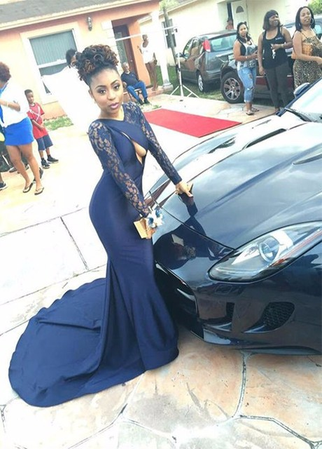 6d861503b Azules marinos vestidos manga larga de la sirena longitud del piso de baile  africanos vestido importado vestido de fiesta vestido párr formatura en ...