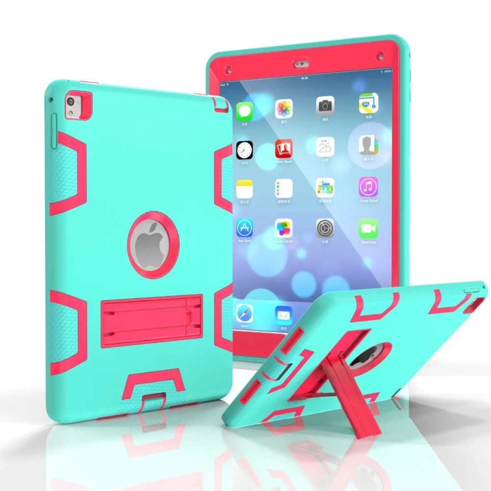 For ipad pro 9.7 Case 3 in 1 kids safe armor Shockproof Heavy Duty Rubber w/ Hard Stand Case Cover For iPad Air 3 ipad 7 # heavy duty shockproof protective hard case kids safe luxury stand silicone rubber armor back cover for ipad air 2 qjy99