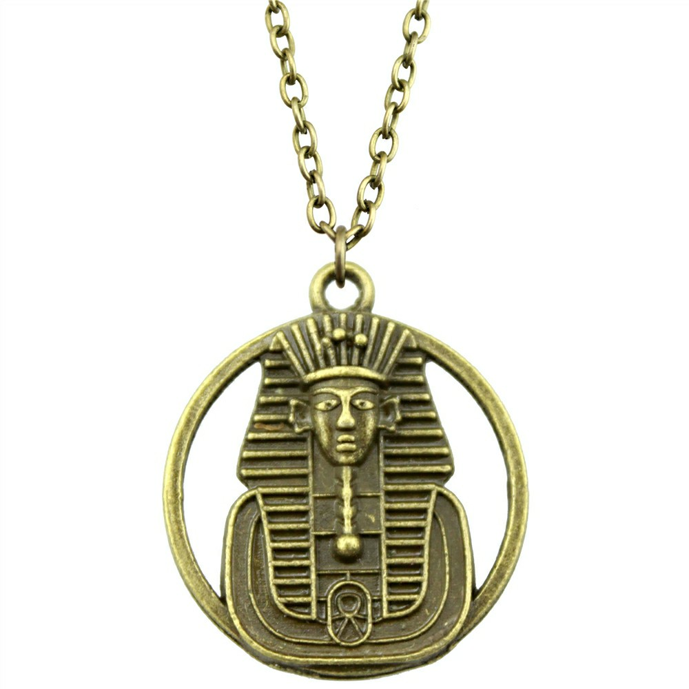 Mens necklace 2019 Fashion Antique Bronze Plated 23Mm Double Sided Egyptian Pharaoh Pendant Necklace Female