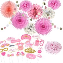 Pink and gold Baby Shower Girl Decorations 11pcs/set Gender Reveal Party Photo Props Circle Garland Paper Fans Princess