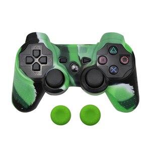 Image 4 - Capa protetora de silicone pele + vara analógica aperto para sony ps3 controlador caps capa para ps2/ps3/ps4 gamepad camuflagem