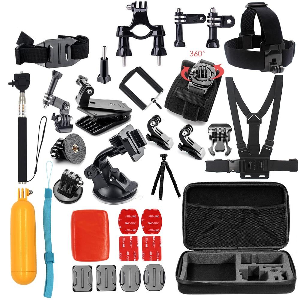 Tekcam para xiaomi yi accesorios set para yi 4 K/yi 4 K plus/Yi Lite para gopro hero 5 4 3 para SJCAM SJ4000 SJ5000 SJ6 SJ7 caso bolsa
