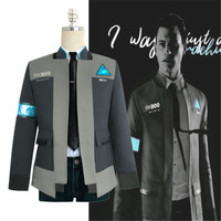 Drop Shipping Detroit: Become Human RK800 Connor Cosplay Costume Complete Outfit Jacket Coat S 2XL
