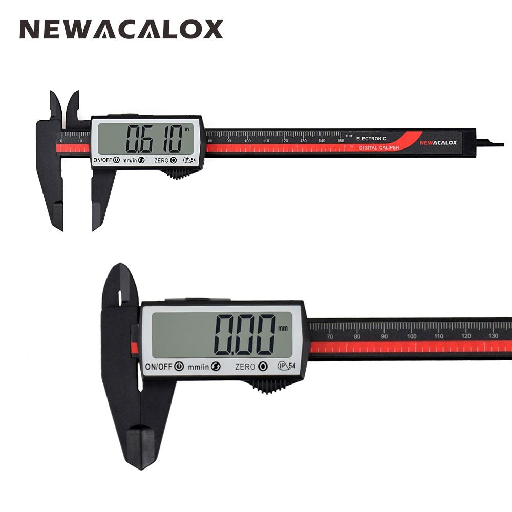 Newacalox touch digital pinça régua de fibra de carbono extra grande tela lcd Polegada/conversão métrica 0-6 Polegada/150mm ferramenta de medição