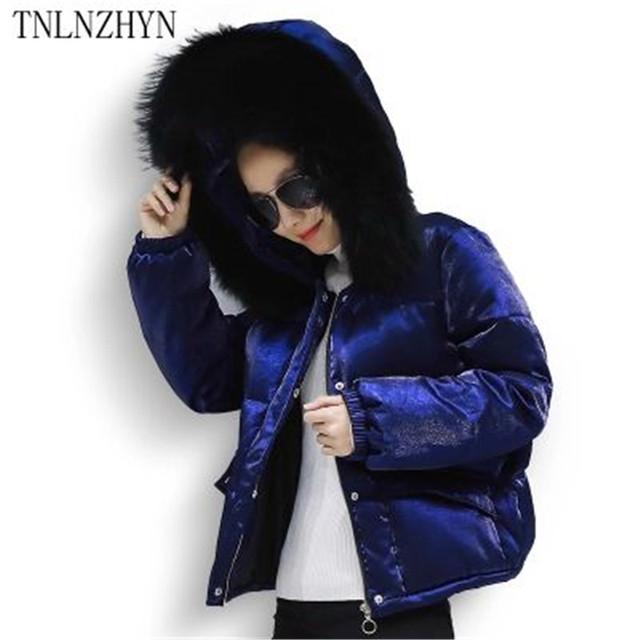 TNLNZHYN 2017 Brasão New Mulheres Inverno Quente Super Grande Gola De Pele Com Capuz Para Baixo Jaqueta de Algodão Grosso Moda Jaqueta Curta SK244