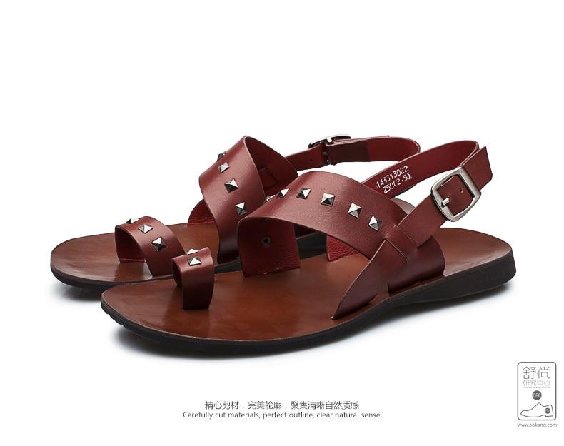 515bad4dc5eb49 Aokang Male Shoes Leather 2015 Vintage Rivet Summer Sandals For Men ...