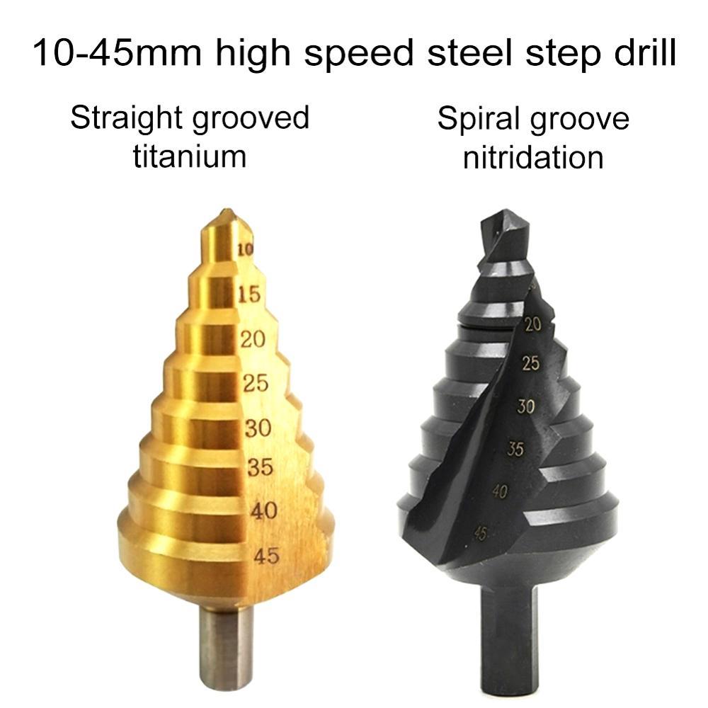 Hss Multiple Hole 8 Sizes 10-45mm Titanium-Plated Nitriding Step Drill Bit 8 Steps Cone Drill Bit Hole Groove Metal Wood Cut