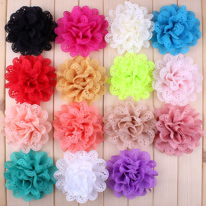 "30pcs/lot 4"" 15 Colors Artificial Fabric Flowers For Girls Dresses Fluffy Eyelet Fabric Flowers For Headbands Hair Accessories"