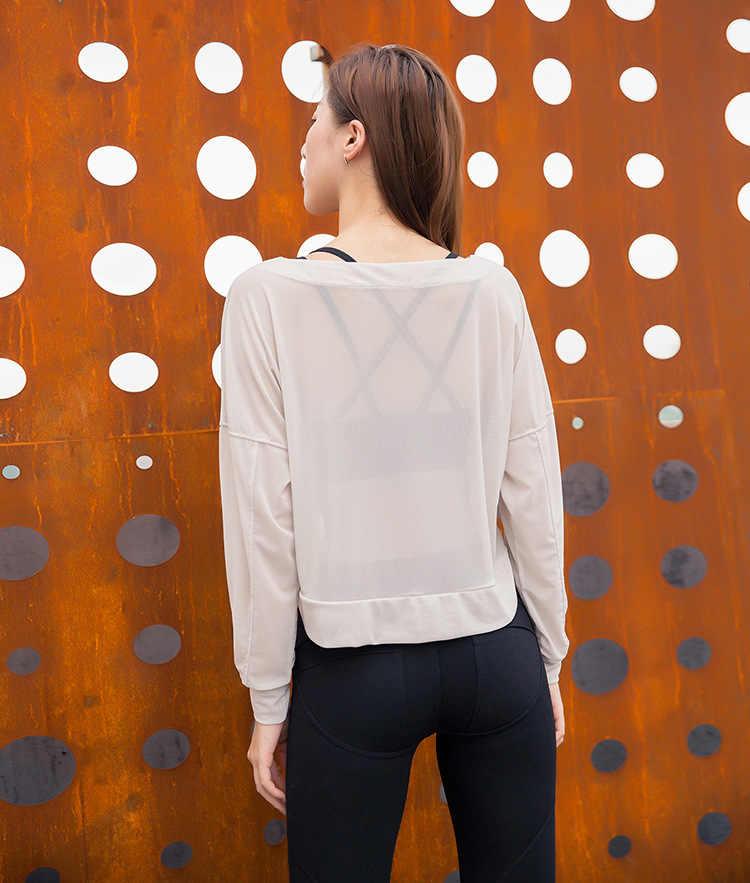Mulher Malha Camisa Esporte Top Yoga Sexy Ginásio Correndo Respirável Oco Out Jerseys Sportswear Feminino T-shirt da Aptidão do Exercício