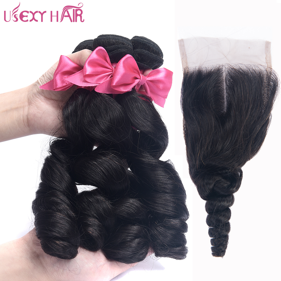 USEXY HAIR Brazilian Closure Loose Wave 3 Bundles Hair Weaving 100% Human Hair Weave Bundles With Lace Closure 4*4 Non Remy Hair