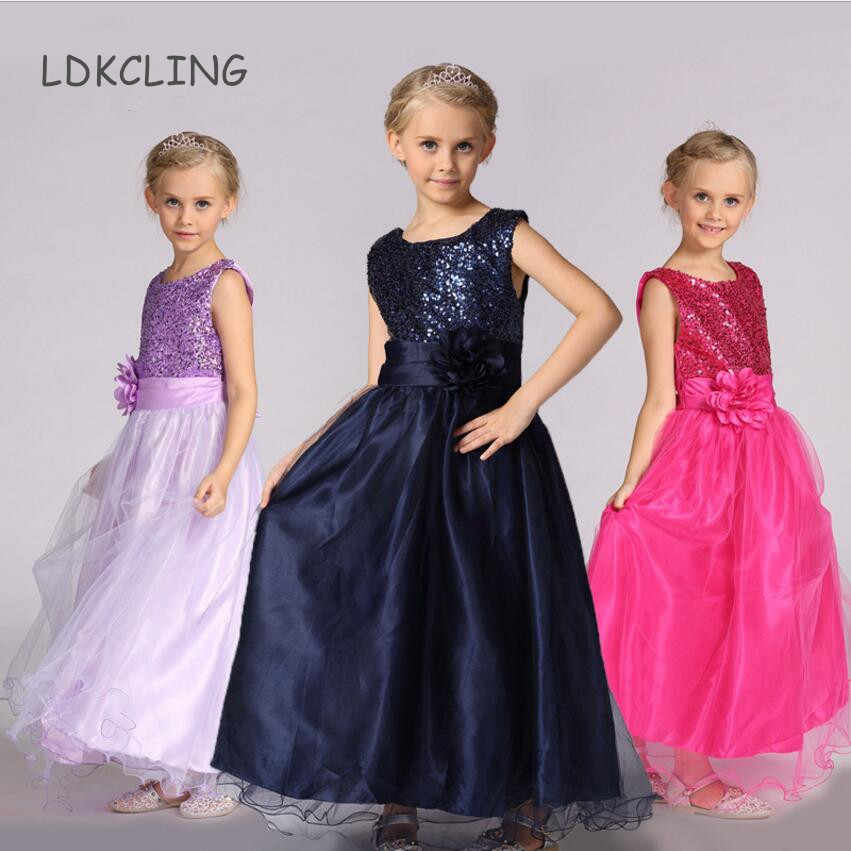 2018 Girl Princess shiny Ball Gown with flower belt baby Girls party wear Dresses long sequined wedding evening dress ball gown sky blue open back with long train ruffles tiered crystals flower girl dress party birthday evening party pageant gown