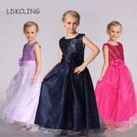 2015 New Arrival Little Girl Ball Gown Decorated White Pearl Belt Baby Girls Party Wear Dresses
