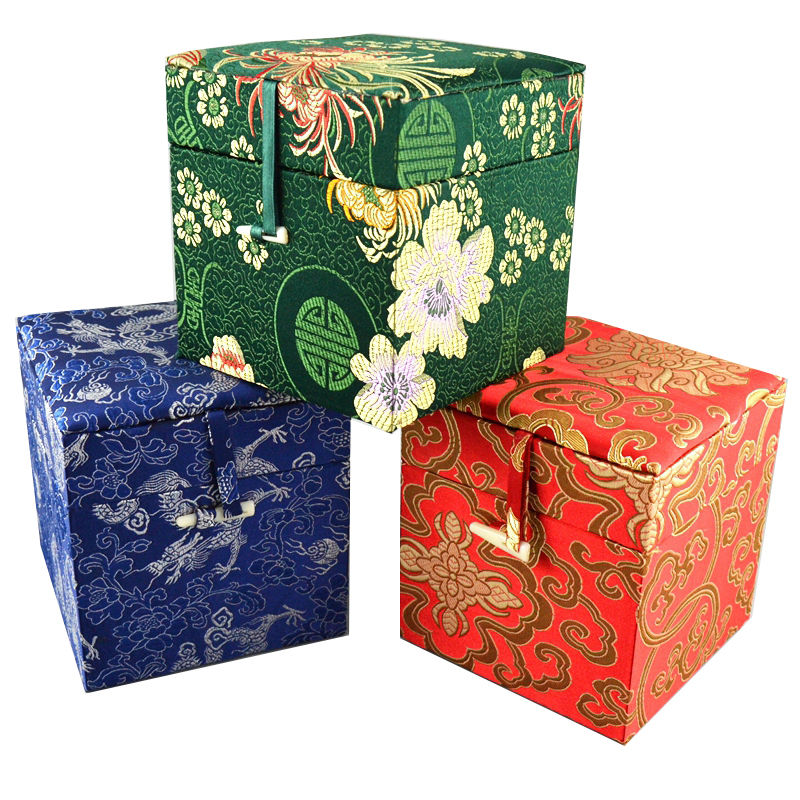LiiJi Unique Chinese Handmade Classic Brocade Square Jewelry Storage Boxes Gift Boxes