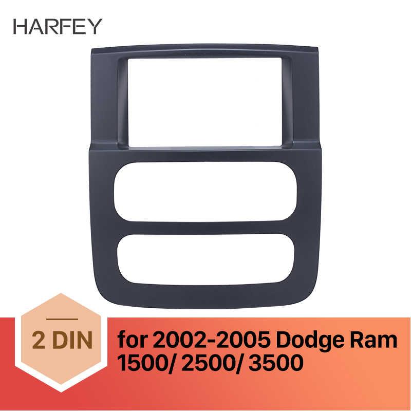 Harfey 2Din ブラックカーラジオフレームインストールダッシュベゼル筋膜ダッジラム 2002 2003 2004 2005 トリムキット 1500 2500 3500 マウントキット
