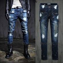 2015 New Men Slim Fit Jeans Casual Fashion Designer High Quality Denim All Cotton Scratched Patchwork Paint Spot Blue Size L,XL