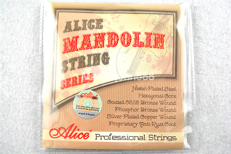 Alice AM08 Mandolin Strings Plated Steel&Silver-Plated Copper Wound Strings Free Shippng high quality alice a105bk h hard tension black nylon silver plated classical guitar strings copper alloy wound 1st 6th strings