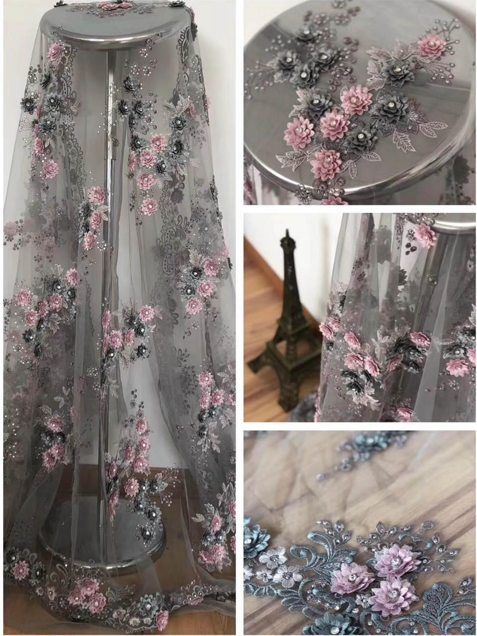 Tissu de couture de maille de tulle de dentelle française grise de luxe avec la pierre 3D d'appliques et les grands diamants 5 yards pour la robe de partie ML6810
