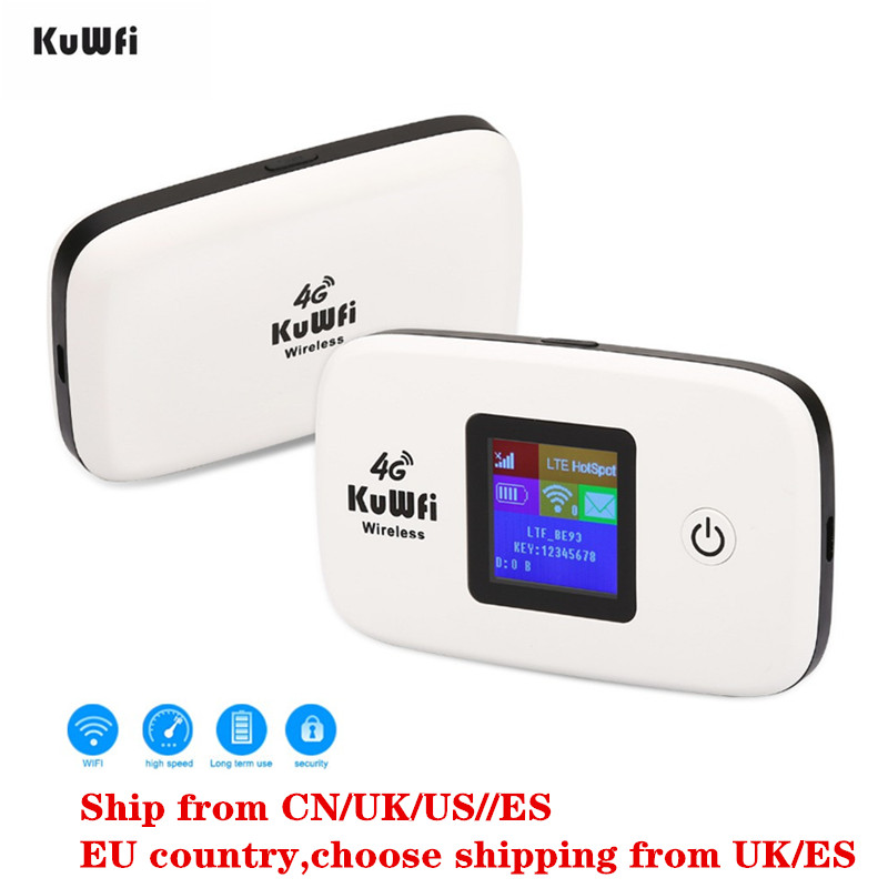 KuWfi Unlocked 150Mbps 3G 4G LTE Wifi Router Mobile Wifi Hotspot 2400mAH For USA/CA/Mexico/Jamaica/Argentina/Chile/ColombiaKuWfi Unlocked 150Mbps 3G 4G LTE Wifi Router Mobile Wifi Hotspot 2400mAH For USA/CA/Mexico/Jamaica/Argentina/Chile/Colombia