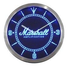 nc0437 Marshall Guitars Bass Amplifier Neon Sign LED Wall Clock