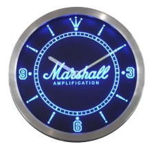 Nc0437 Marshall guitars Bass Amplificadores muestra de neón del LED Reloj de pared