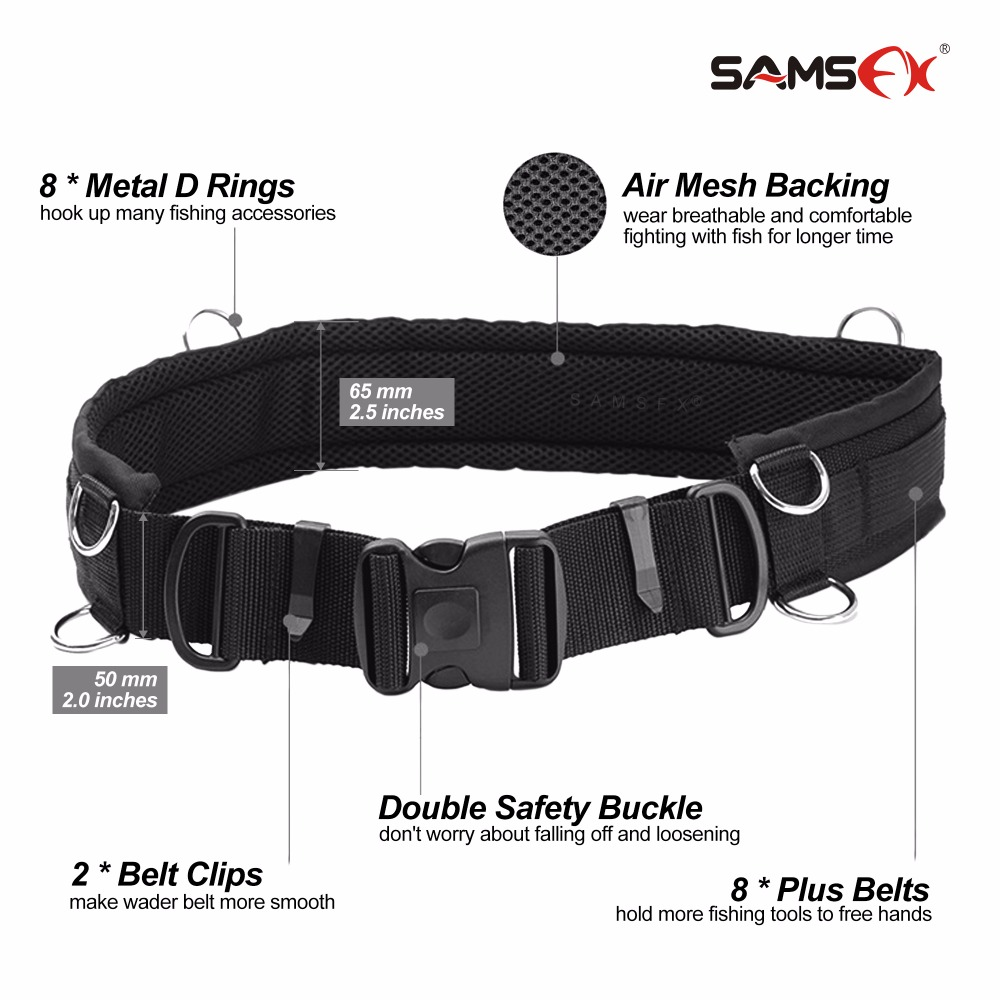 SAMSFX Adjustable Fishing Wader Belt Wading Belts Straps for Surf Casting Kayak