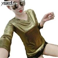 1645 Summer T Shirts Women 2018 Gold Silver Long Sleeve Tee Shirt Femme Plus Size
