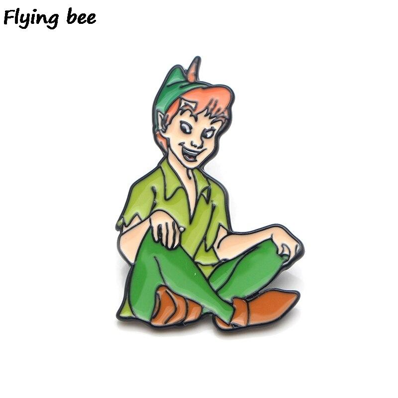 Flyingbee Peter Pan Brooch Cartoon Enamel Pins For Women Men Backpack Badge Personality Hat Pin Kids Pin Charm Jewelry X0141