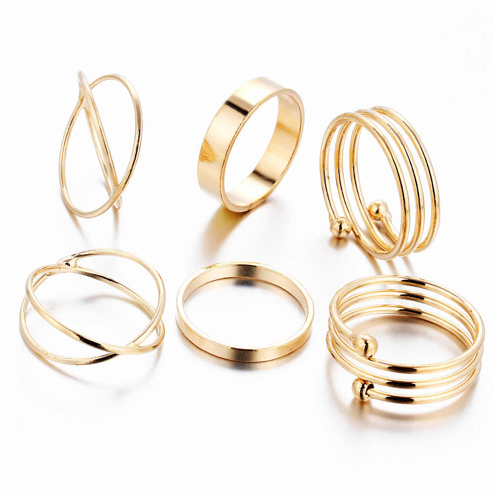 6 pieces Gold Rings Set Women Cross Midi Knuckle Ring Multilayer Mid Finger Round Circle Girls Punk Retro Jewelry Accessories