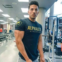 ALPHALETE New Brand Mens T Shirts Crossfit Men Fitness T Shirt Printing Fashion Male Short Sleeve