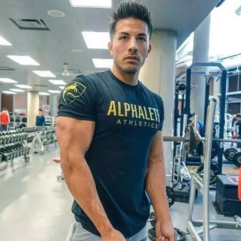 Men 39 s alphalete casual fitness short sleeve t shirt Fitness shirts for men