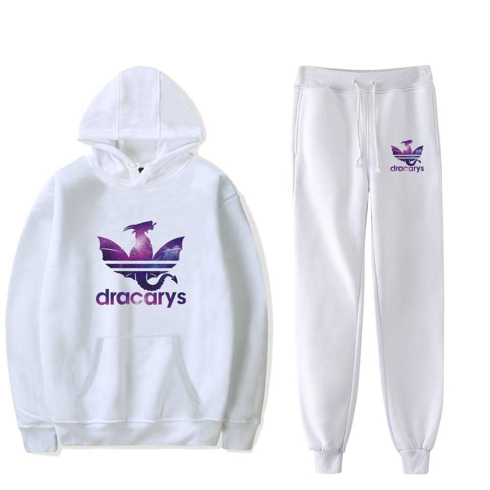 Dracarys 2019 New 2 Piece Set Women/Men Harajuku Spring/Autumn Clothes Top Pants Streetwear Matching Hoodies Two-piece Set Plus