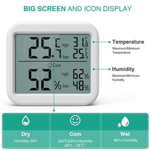 Image 2 - ORIA Mini Digital Hygrometer Thermometer Thermometer Temperature Humidity Monitor Gauge Meter Home Office Bedroom Kitchen